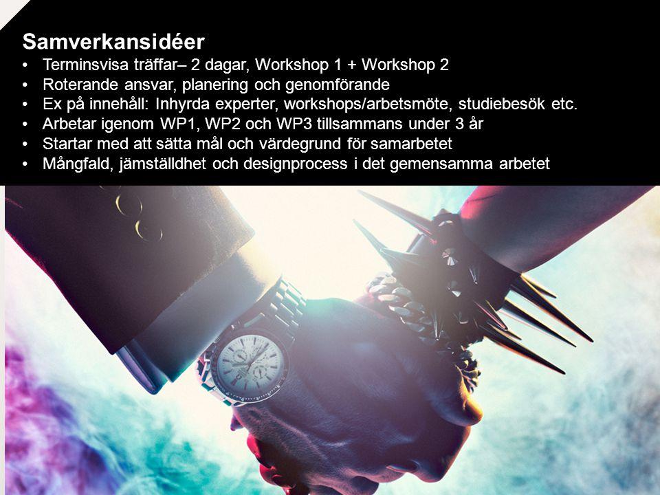 Samverkansidéer Terminsvisa träffar– 2 dagar, Workshop 1 + Workshop 2
