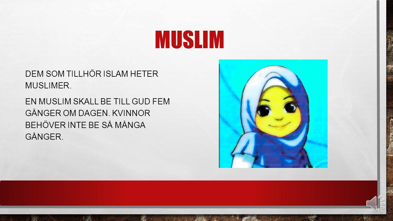 Muslim Dem som tillhör islam heter muslimer. En muslim skall be till gud fem gånger om dagen.