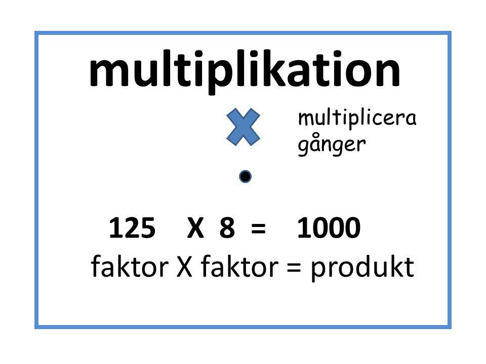 faktor X faktor = produkt