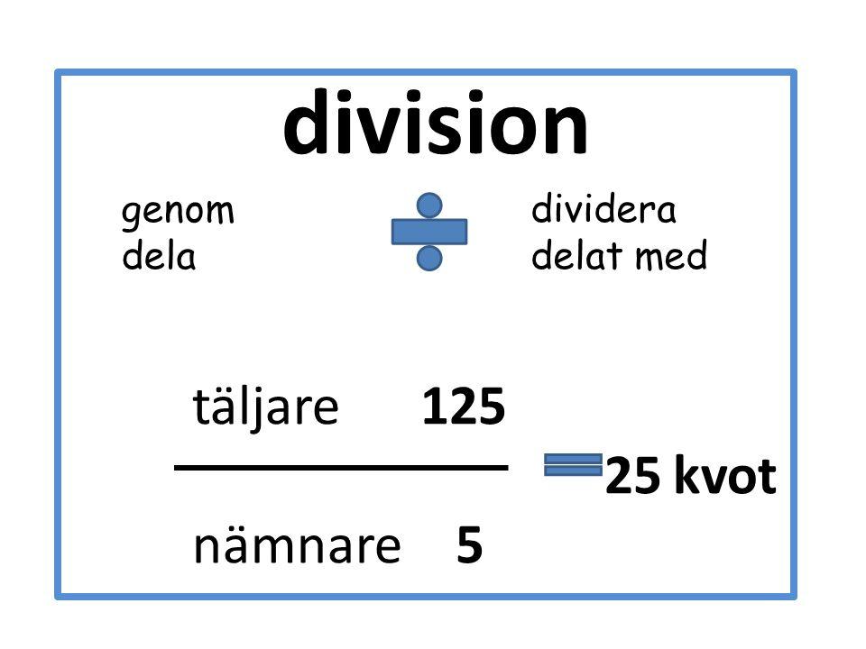 division genom dela dividera delat med täljare 125 25 kvot nämnare 5