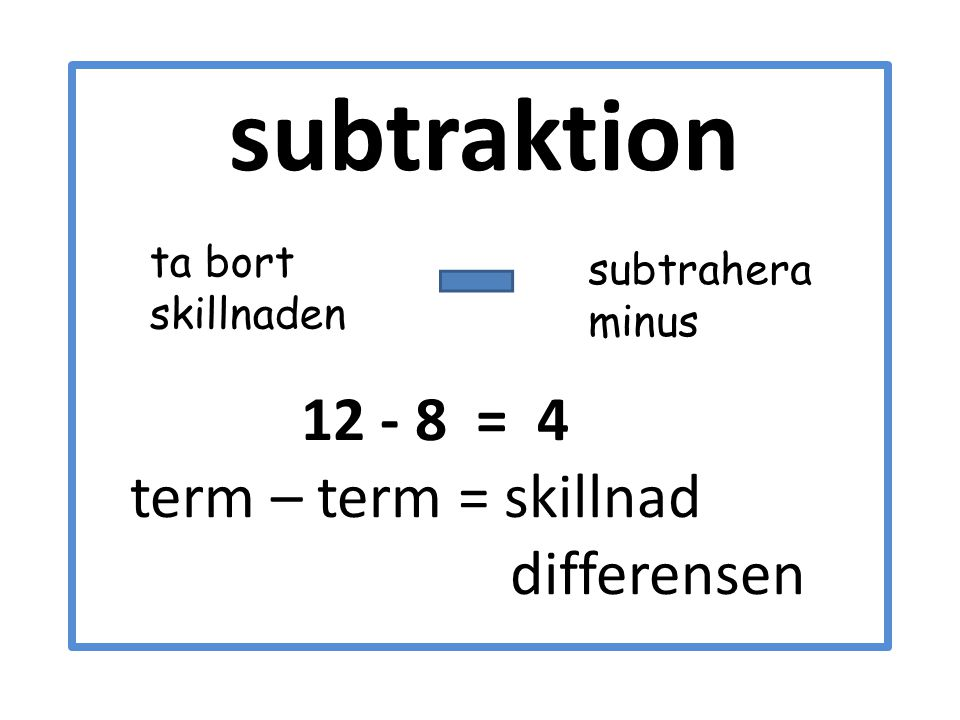 term – term = skillnad differensen