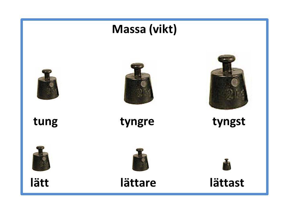 Massa (vikt) tung tyngre tyngst lätt lättare lättast