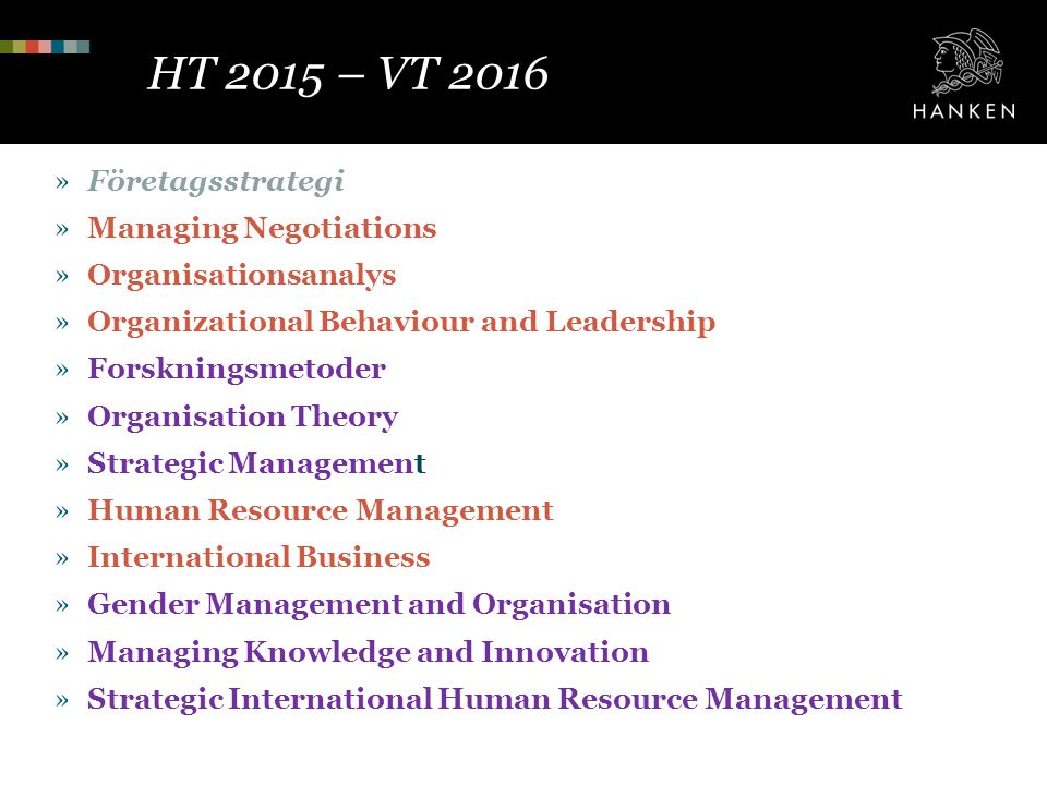 HT 2015 – VT 2016 Företagsstrategi Managing Negotiations
