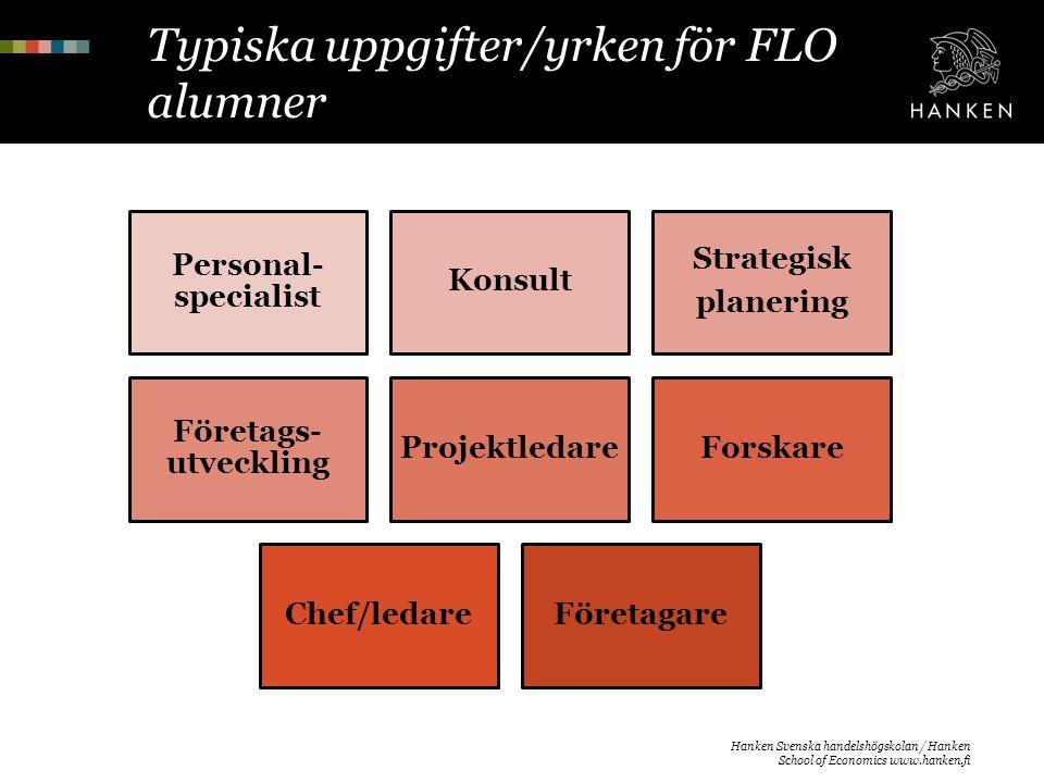 Typiska uppgifter/yrken för FLO alumner