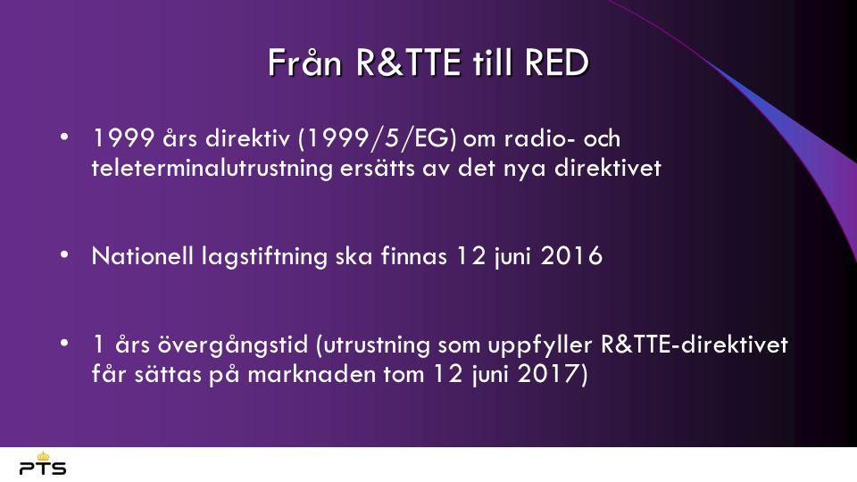 Från R&TTE till RED 1999 års direktiv (1999/5/EG) om radio- och teleterminalutrustning ersätts av det nya direktivet.