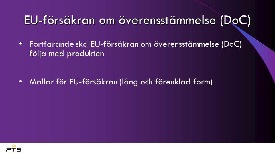 EU-försäkran om överensstämmelse (DoC)