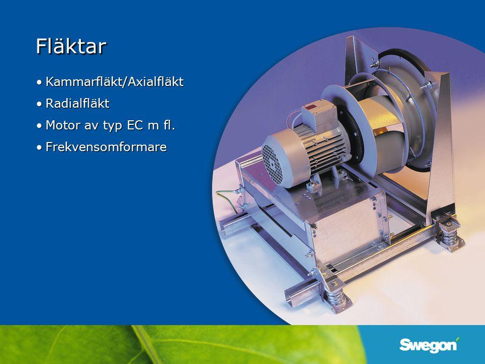 Fläktar Kammarfläkt/Axialfläkt Radialfläkt Motor av typ EC m fl.