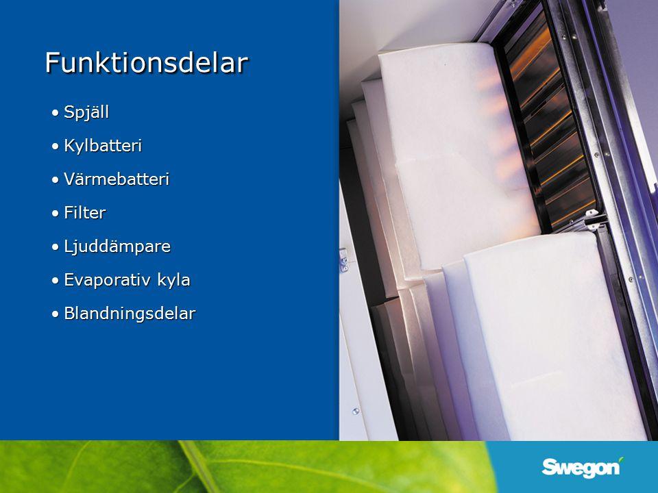 Funktionsdelar Spjäll Kylbatteri Värmebatteri Filter Ljuddämpare