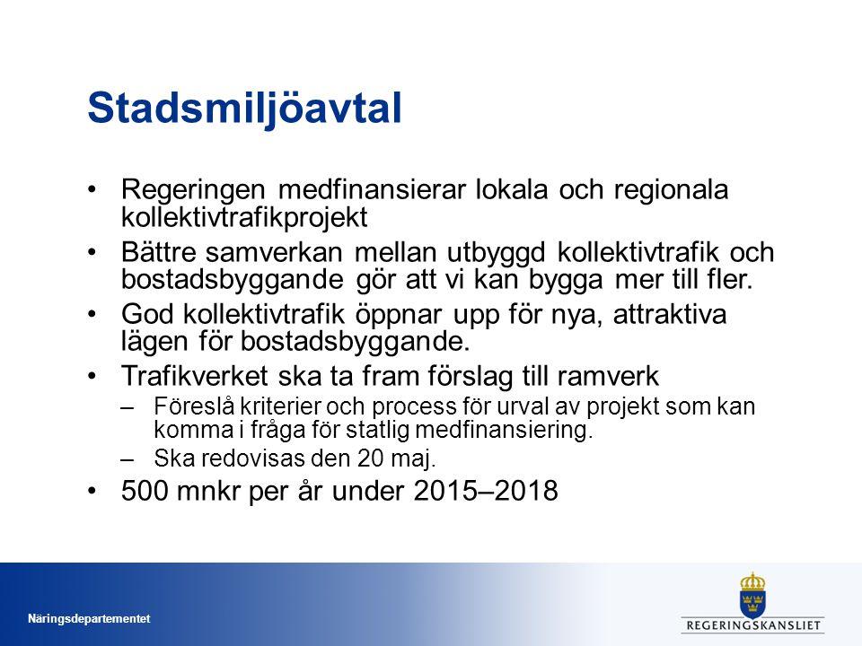 Stadsmiljöavtal Regeringen medfinansierar lokala och regionala kollektivtrafikprojekt.