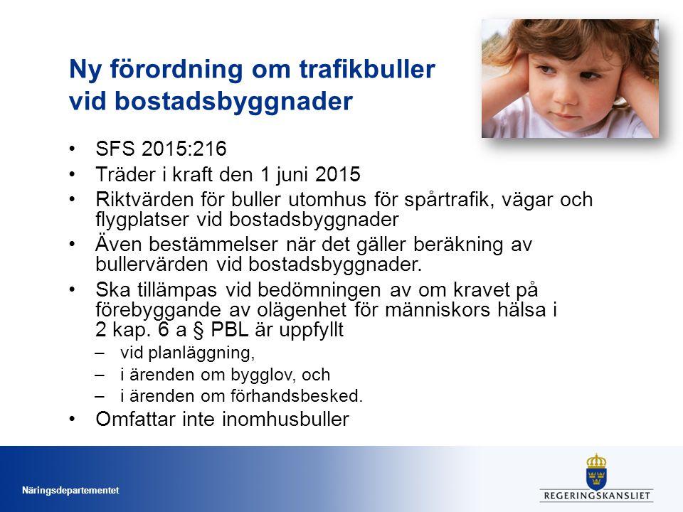 Ny förordning om trafikbuller vid bostadsbyggnader