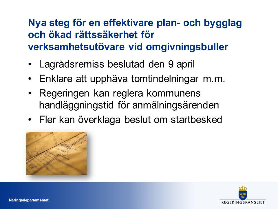Nya steg för en effektivare plan- och bygglag och ökad rättssäkerhet för verksamhetsutövare vid omgivningsbuller