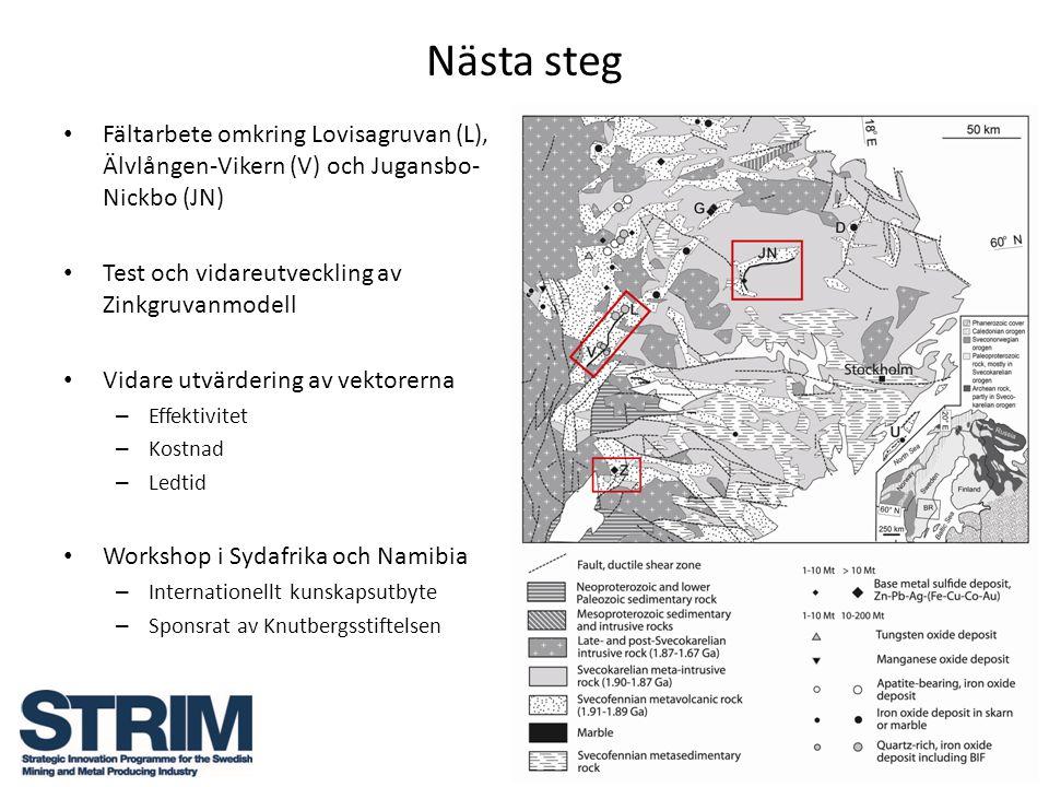 Nästa steg Fältarbete omkring Lovisagruvan (L), Älvlången-Vikern (V) och Jugansbo-Nickbo (JN) Test och vidareutveckling av Zinkgruvanmodell.