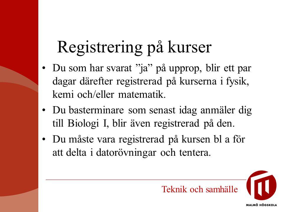 Registrering på kurser