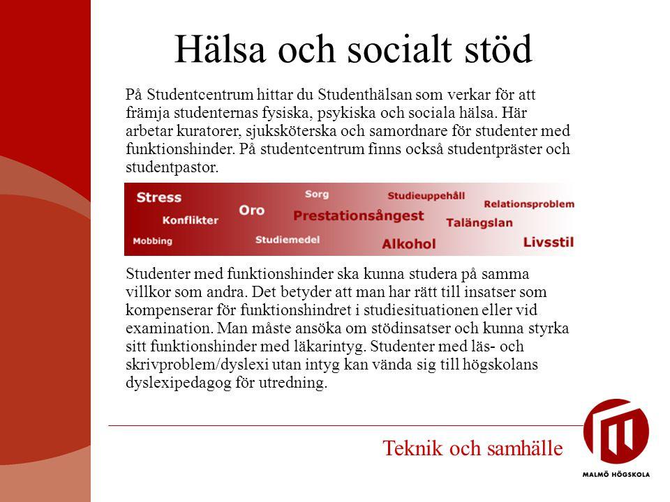 Hälsa och socialt stöd Teknik och samhälle