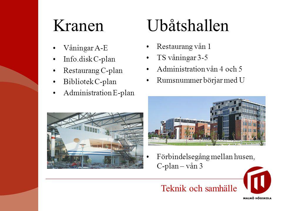 Kranen Ubåtshallen Teknik och samhälle Restaurang vån 1 Våningar A-E