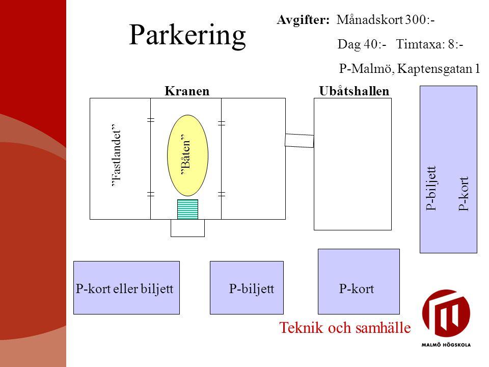 Parkering Teknik och samhälle Avgifter : Månadskort 300:-