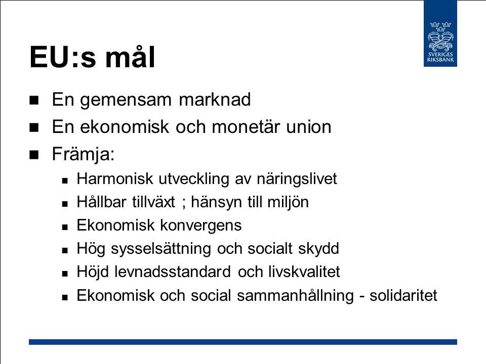 EU:s mål En gemensam marknad En ekonomisk och monetär union Främja: