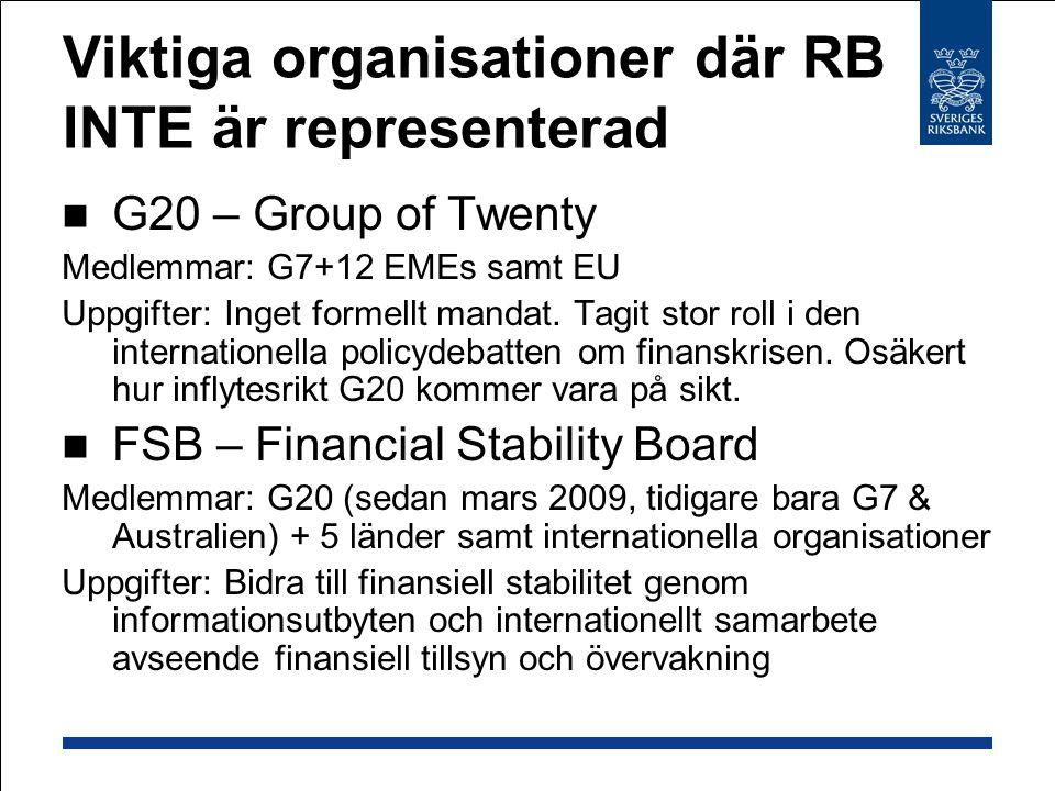 Viktiga organisationer där RB INTE är representerad