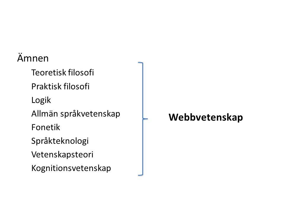 Ämnen Webbvetenskap Teoretisk filosofi Praktisk filosofi Logik