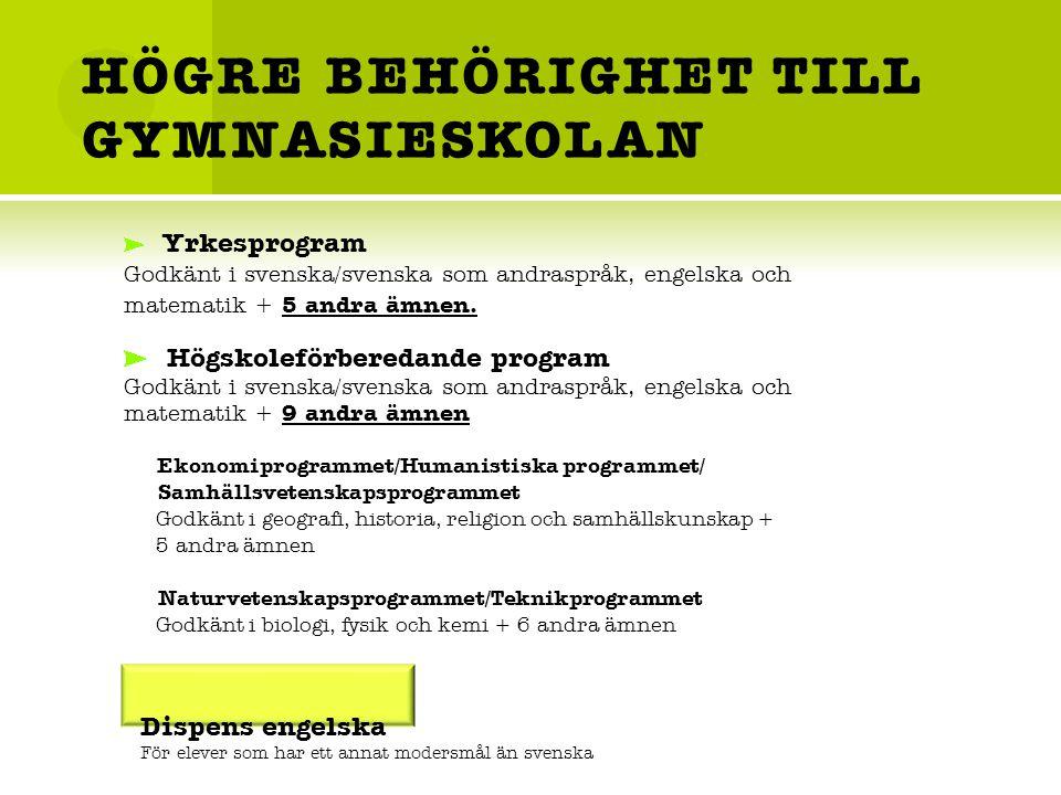 HÖGRE BEHÖRIGHET TILL GYMNASIESKOLAN