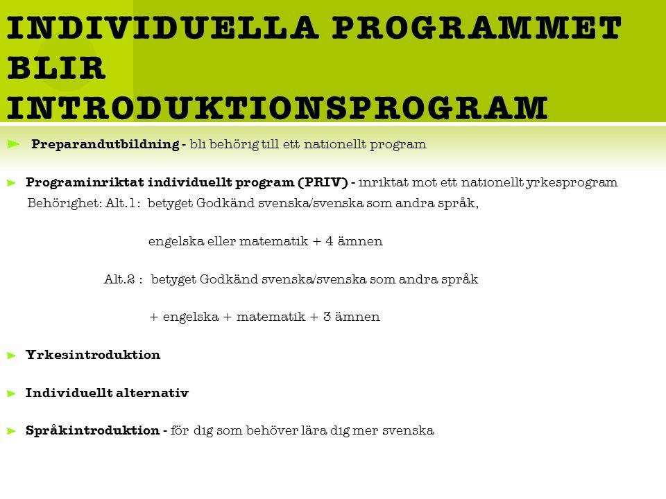 INDIVIDUELLA PROGRAMMET BLIR INTRODUKTIONSPROGRAM