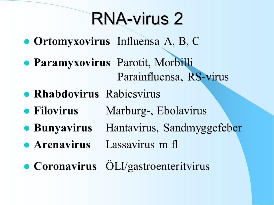 RNA-virus 2 Ortomyxovirus Influensa A, B, C