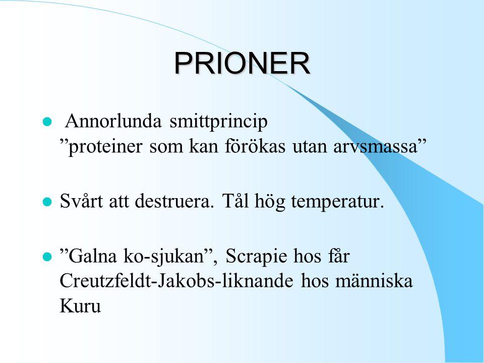 PRIONER Annorlunda smittprincip proteiner som kan förökas utan arvsmassa Svårt att destruera. Tål hög temperatur.