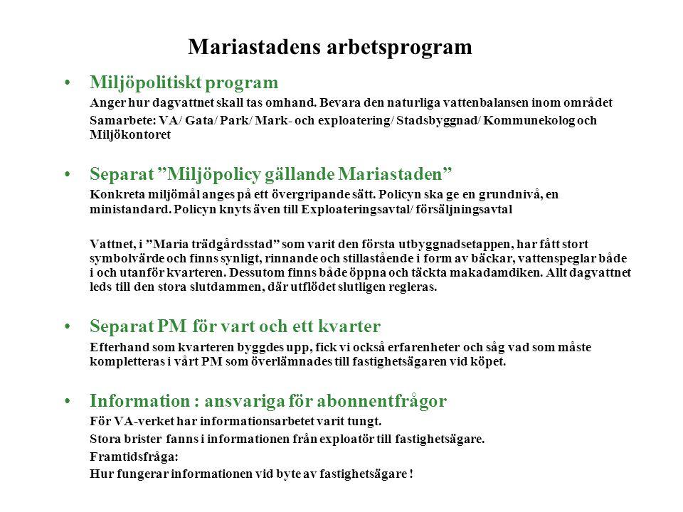 Mariastadens arbetsprogram