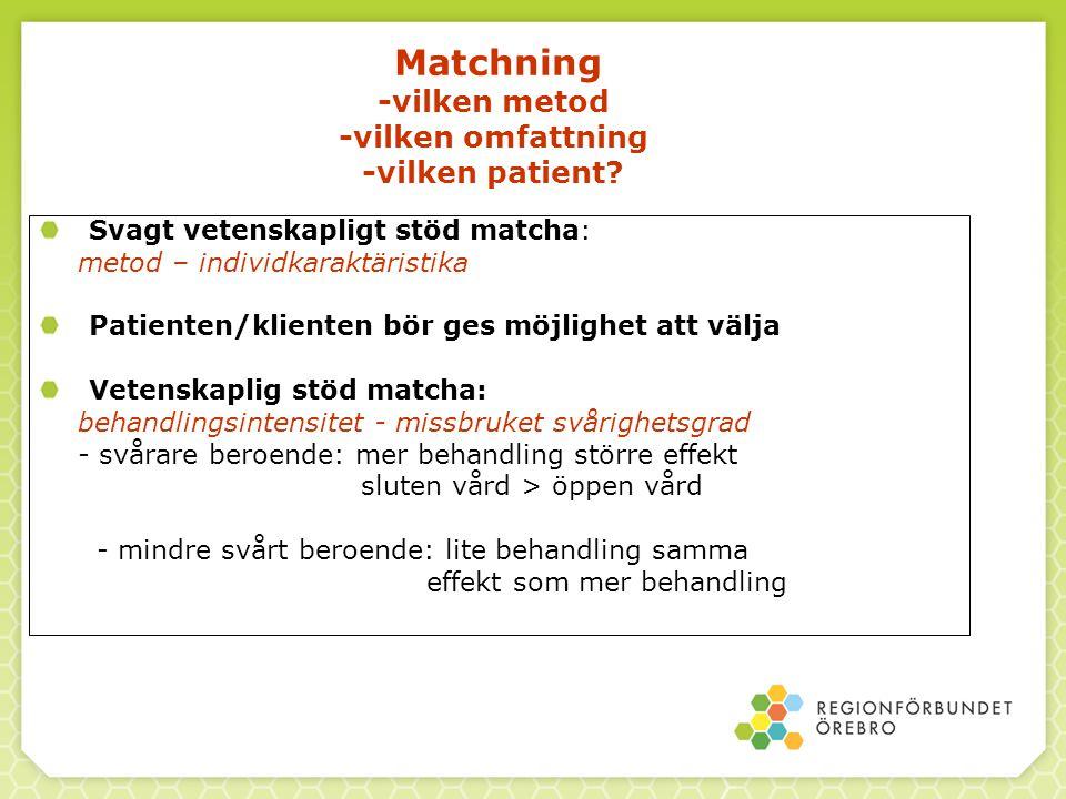 Matchning -vilken metod -vilken omfattning -vilken patient