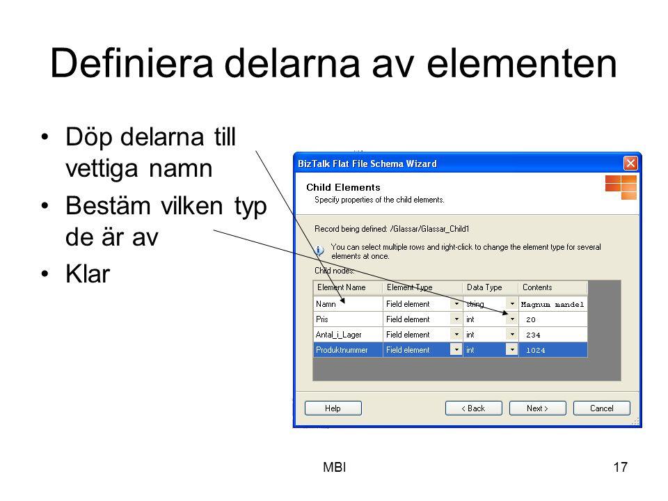 Definiera delarna av elementen