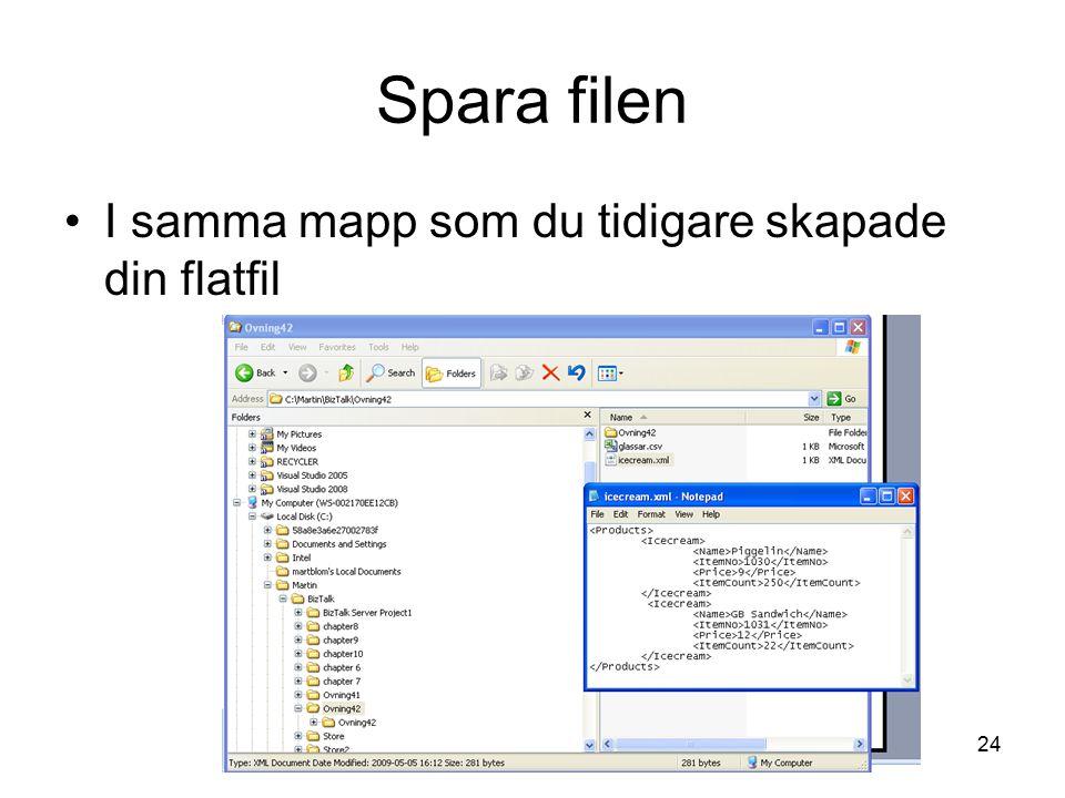 Spara filen I samma mapp som du tidigare skapade din flatfil MBl
