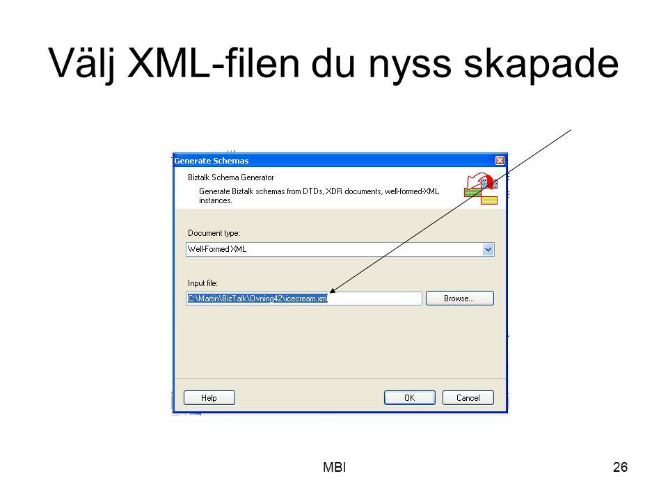 Välj XML-filen du nyss skapade