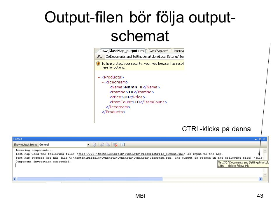 Output-filen bör följa output-schemat