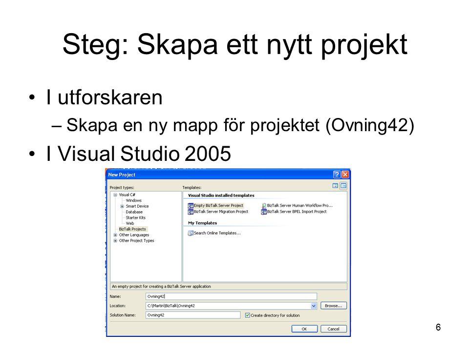 Steg: Skapa ett nytt projekt