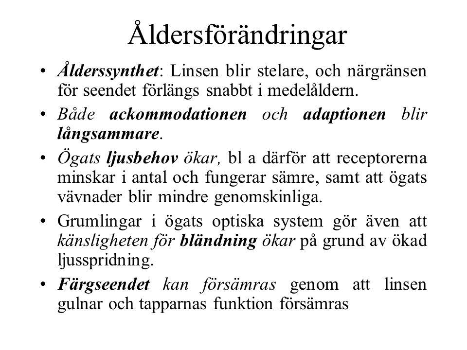 Åldersförändringar Ålderssynthet: Linsen blir stelare, och närgränsen för seendet förlängs snabbt i medelåldern.