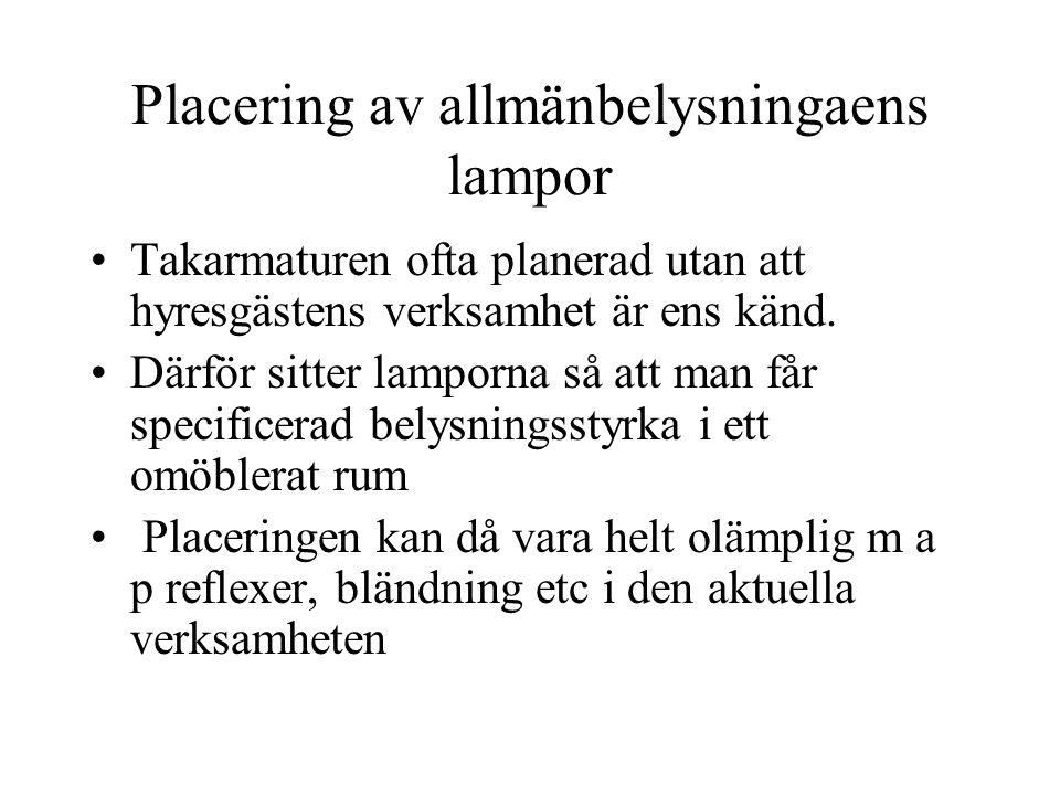 Placering av allmänbelysningaens lampor
