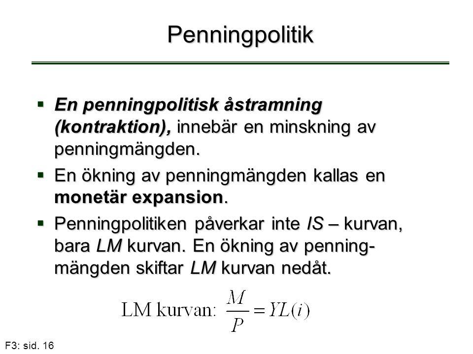 Penningpolitik En penningpolitisk åstramning (kontraktion), innebär en minskning av penningmängden.