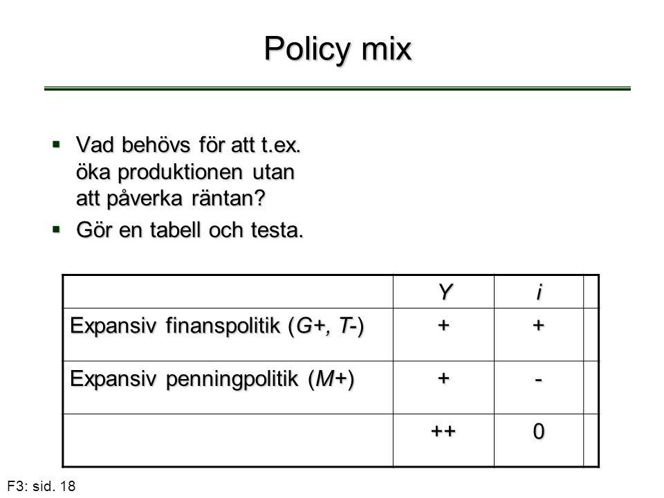 Policy mix Vad behövs för att t.ex. öka produktionen utan att påverka räntan Gör en tabell och testa.