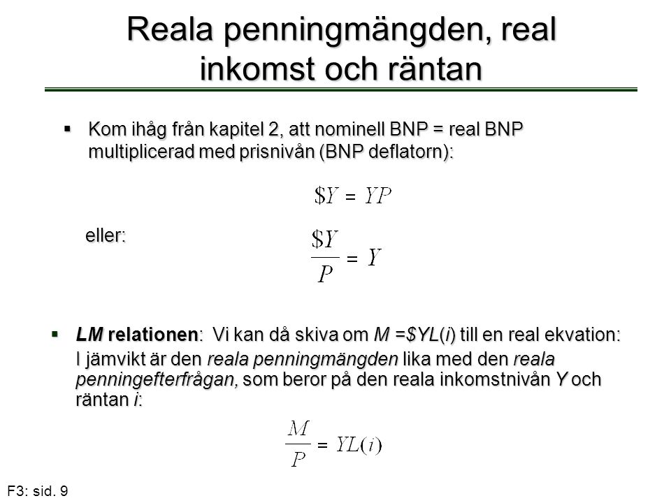Reala penningmängden, real inkomst och räntan