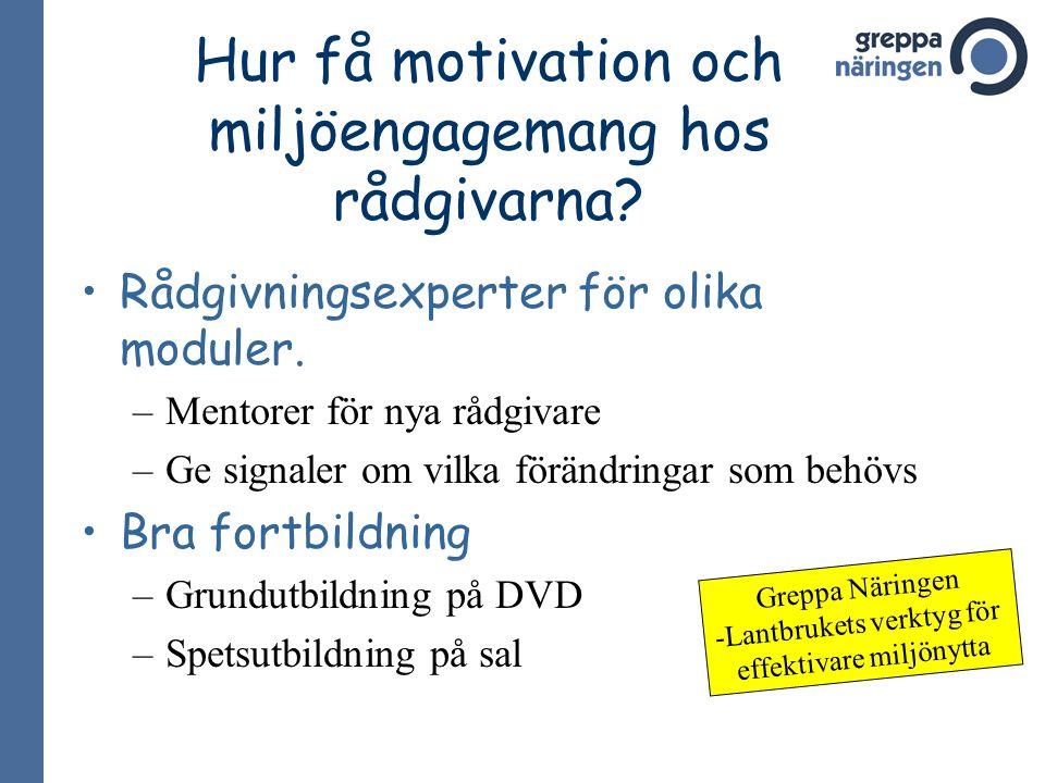 Hur få motivation och miljöengagemang hos rådgivarna
