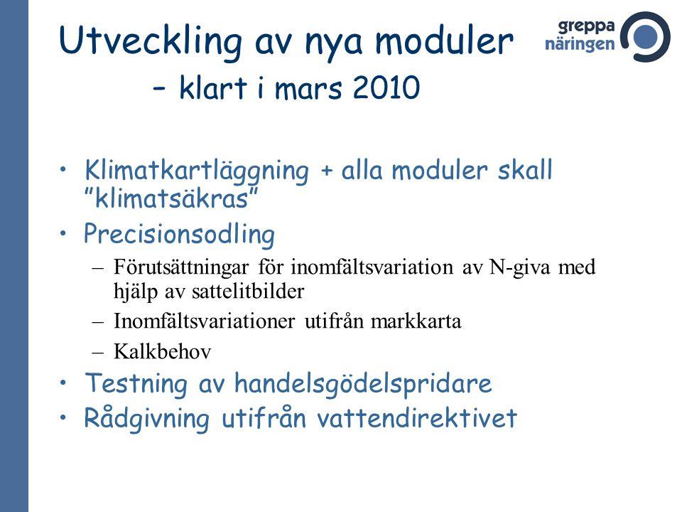 Utveckling av nya moduler - klart i mars 2010