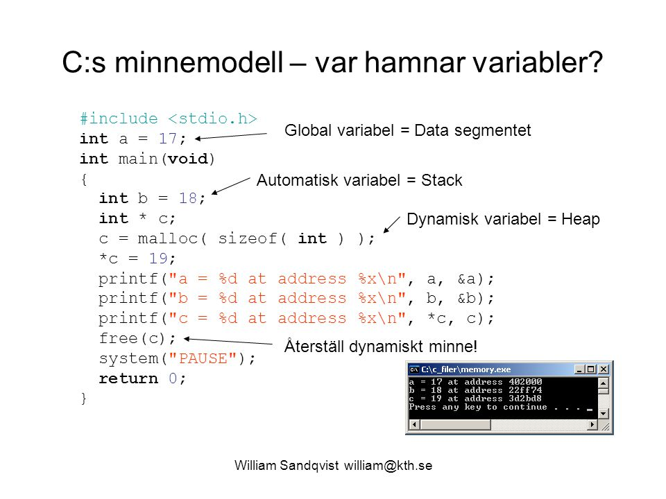 C:s minnemodell – var hamnar variabler