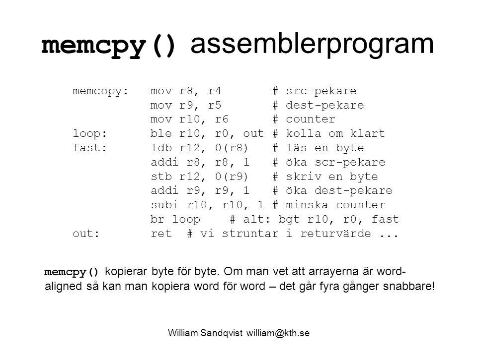 memcpy() assemblerprogram