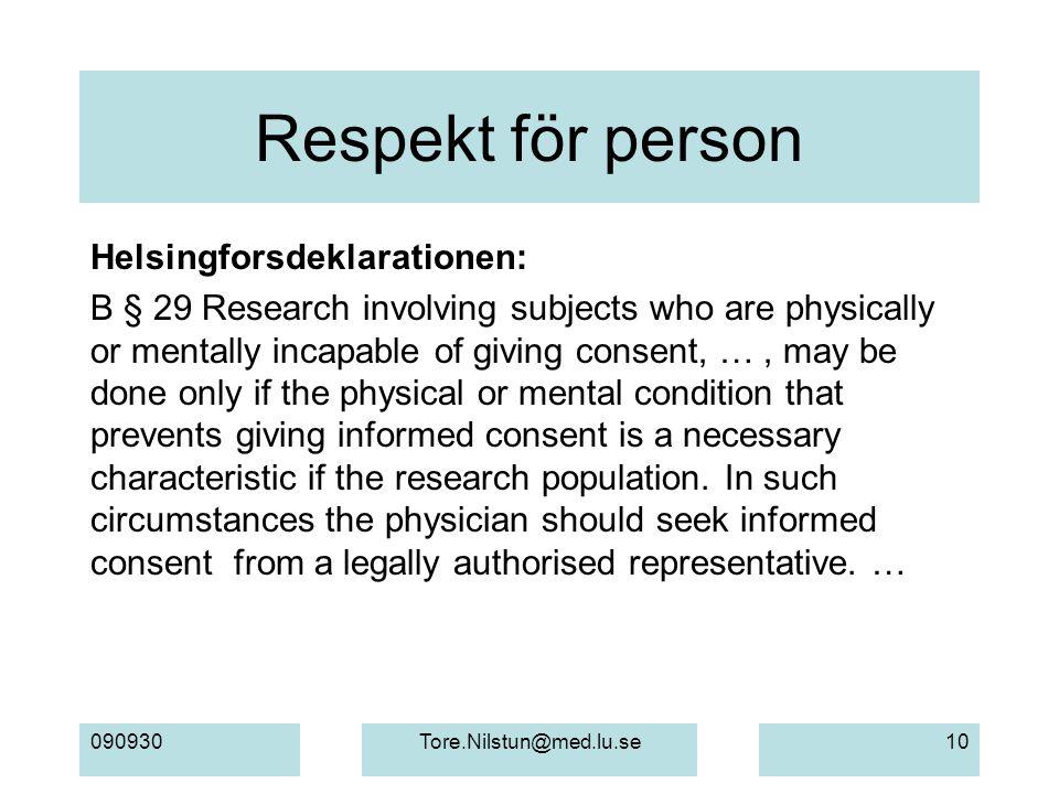 Respekt för person Helsingforsdeklarationen: