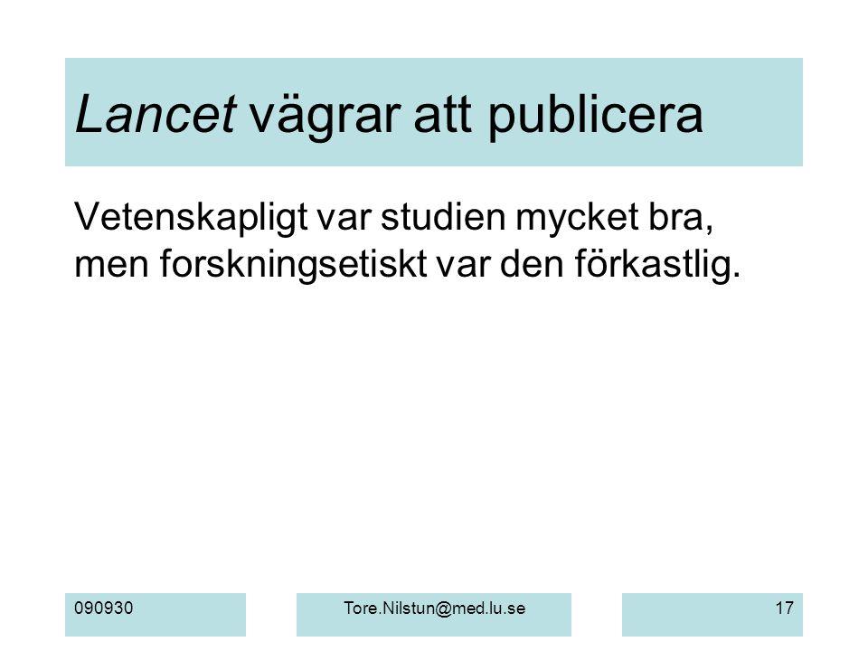 Lancet vägrar att publicera