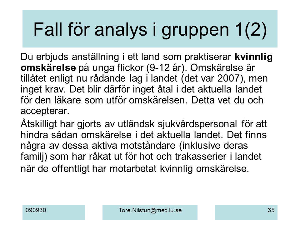 Fall för analys i gruppen 1(2)