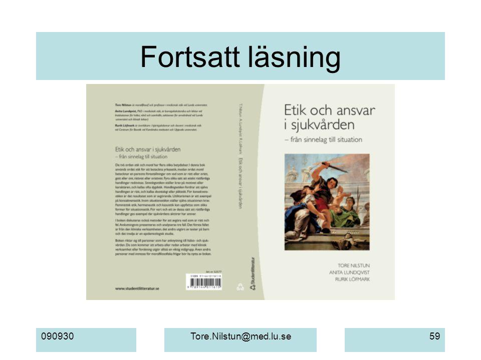 Fortsatt läsning 090930 Tore.Nilstun@med.lu.se