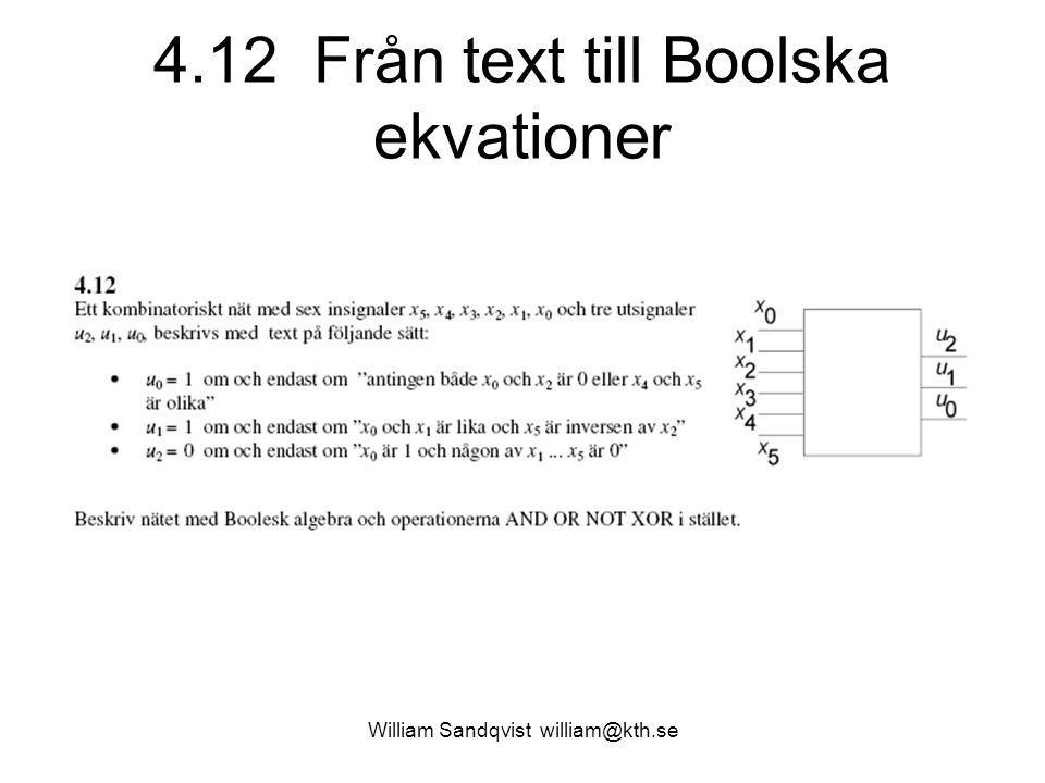 4.12 Från text till Boolska ekvationer