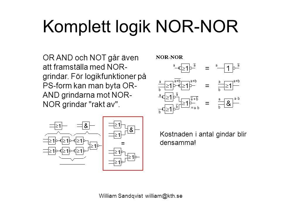 Komplett logik NOR-NOR