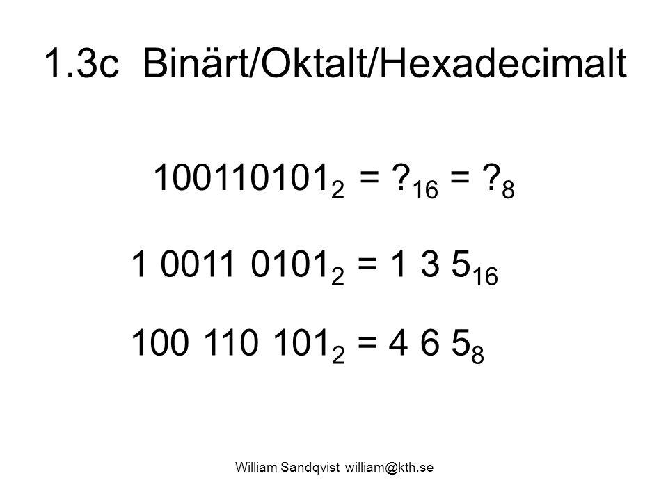 1.3c Binärt/Oktalt/Hexadecimalt